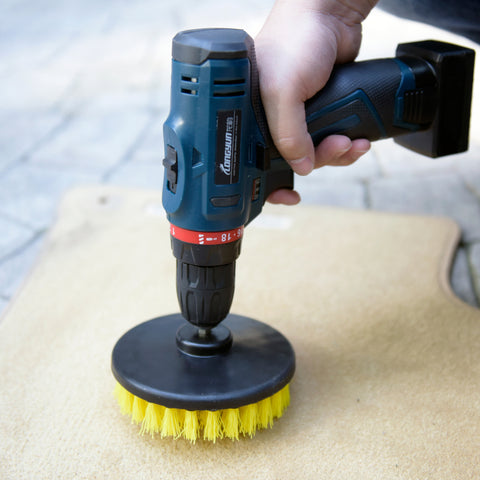 "Auto Cleaning Heavy Duty Carpet Power Drill Attachment Stiff Bristles Round 5"" Brush, Yellow"