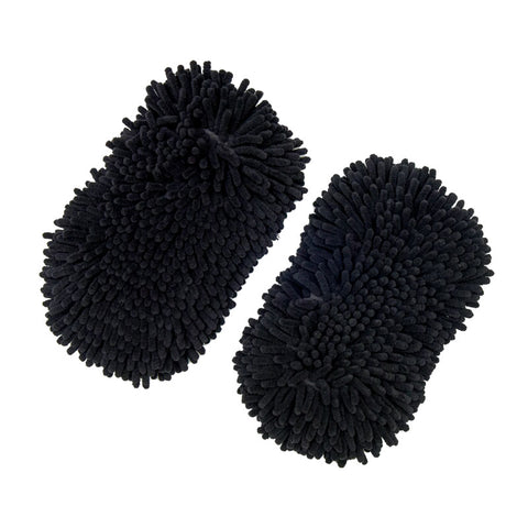 "10"" Premium Black Chenille Microfiber Dog Bone Wash Mitt, Pack of 2"