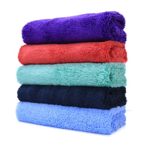 "Edgeless Coral Fleece Microfiber Towel (16""x16"", 450GSM, Pack of 6)"