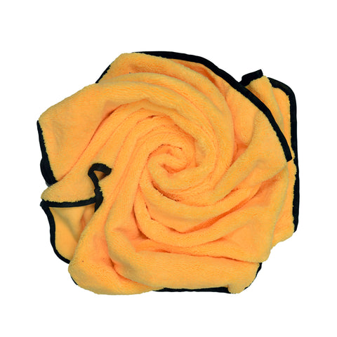 "Car Wash Microfiber Long/Short Hair Towel, 25""X36"", Gold with Black Silk Binding Towel"