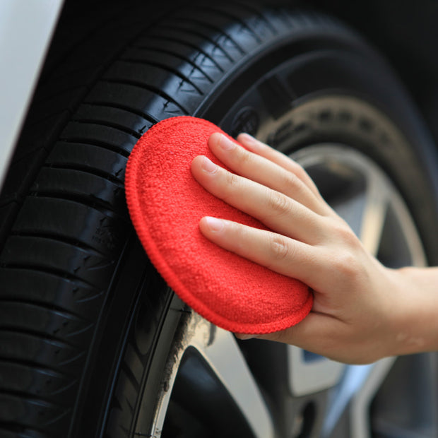 "5"" Round Microfiber Applicator for Car Wax, Red, 12pcs/pack - CarCarez Professional Auto Detailing and Cleaning Products"