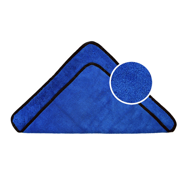 Microfiber Towel Long/Short Hair Blue with Black silk Binding, Pack of 6