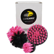 Drill Brush Set Power Scrubber Drill Attachments Pink - CarCarez Professional Auto Detailing and Cleaning Products