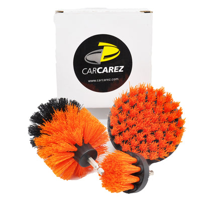 All Purpose Power Scrubber Cleaning Kit (3 Piece Set - Orange, Medium Bristle) - CarCarez Auto Detailing Products and Car Wash Supplies