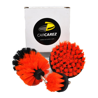 All Purpose Power Scrubber Cleaning Kit (3 Piece Set - Red, Stiff Bristle) - CarCarez Auto Detailing Products and Car Wash Supplies