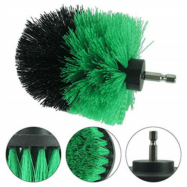 All Purpose Power Scrubber Cleaning Kit (3 Piece Set - Green, Medium Bristle)