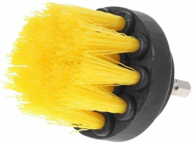 All Purpose Power Scrubber Cleaning Kit (3 Piece Set - Yellow, Medium Bristle)