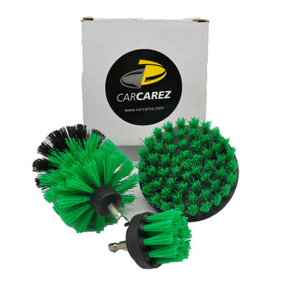 All Purpose Power Scrubber Cleaning Kit (3 Piece Set - Green, Medium Bristle) - CarCarez Auto Detailing Products and Car Wash Supplies
