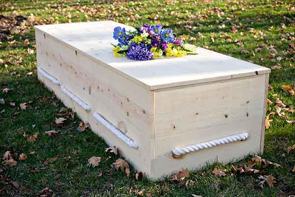 simple pine box casket rope handles