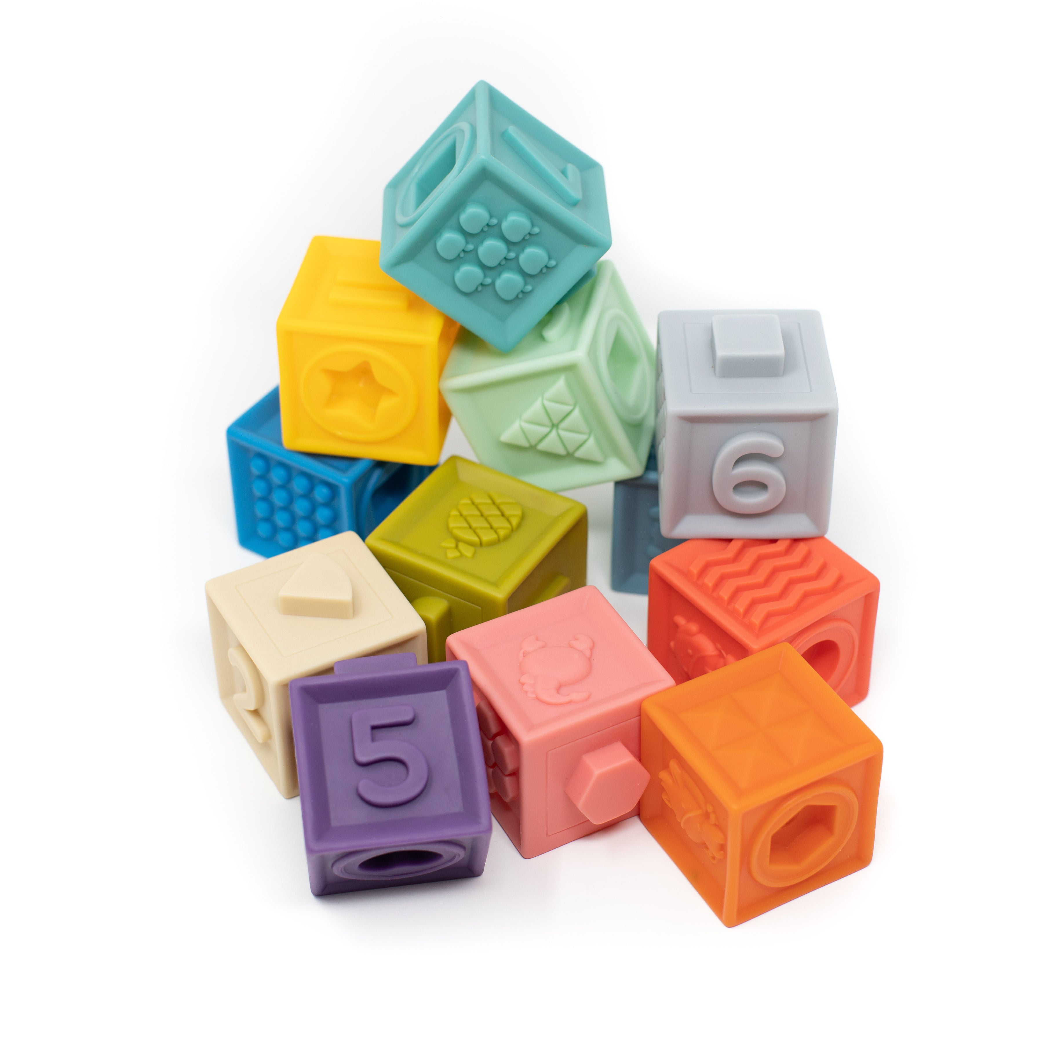 Building Block Teether & Bath Toy Primary - Modern Baby Shower Gifts