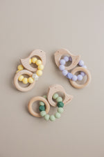 Load image into Gallery viewer, Dove Rattle - BPA Free Silicone & Beech Wood