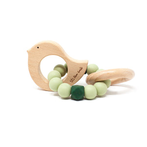 Dove Rattle - BPA Free Silicone & Beech Wood