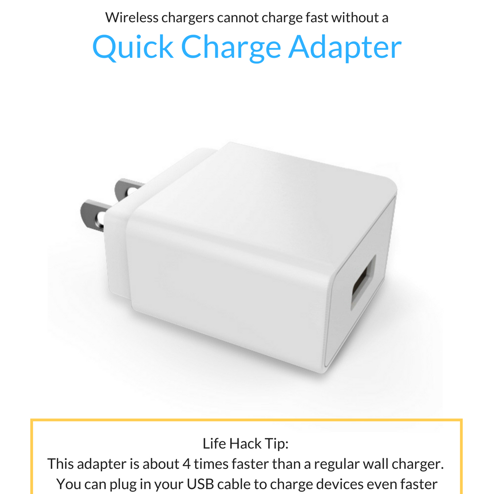AirCharge Fast Wireless Charger Stand with Quick Charge 3.0 Adapter - White