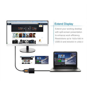 USB 3.0 to VGA Adapter Converter External Video Card Multi-monitor Adapter Support Max Resolution 1080p for PC Laptop Windows