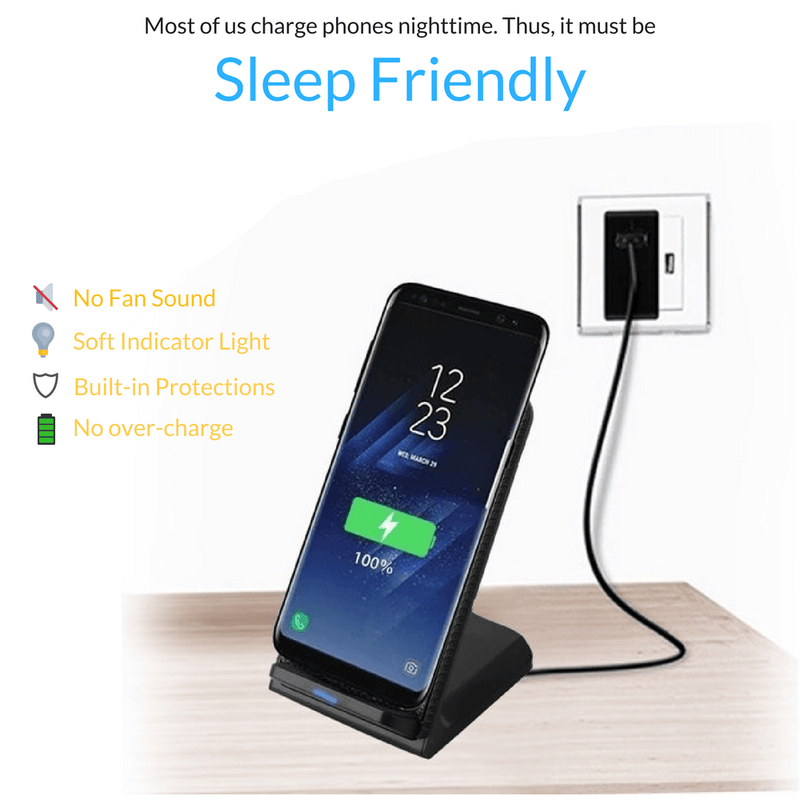 AirCharge Fast Wireless Charger with Quick Charge 3.0 Adapter - Black Leather