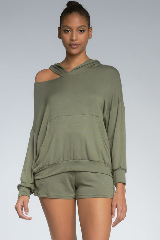 Averi One Shoulder Hoodie - Olive Green