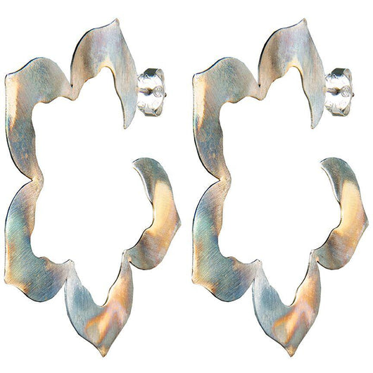 Burnished Silver Flora Hoops