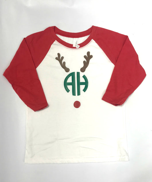 Boy's reindeer shirt with monogram