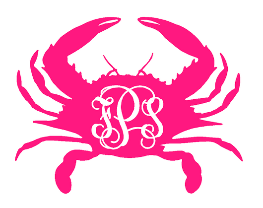 Crab decal with monogram