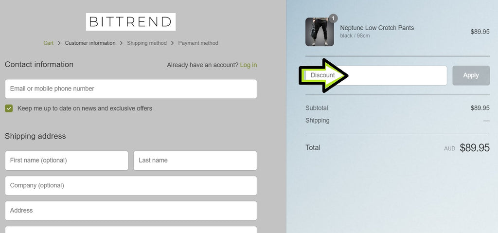 Discount codes bittrend application check out