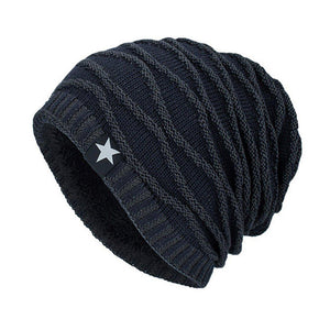New Men's Autumn Fleece Knitted Beanie (Skullies)-BitTrend