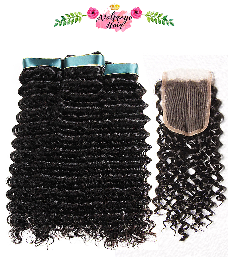 Regina Natural Black Middle Parting Deep Wave Weave Bundles with Closure - Valfreya Hair