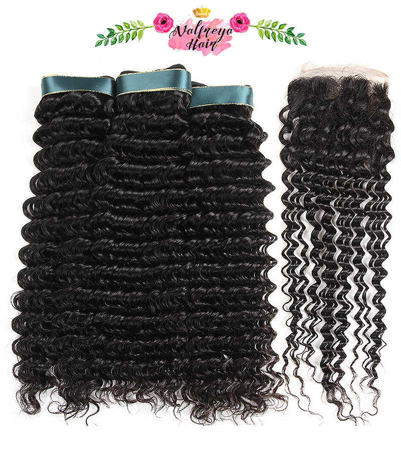 Regina Natural Black Free Parting Deep Wave Weave Bundles with Closure - Valfreya Hair