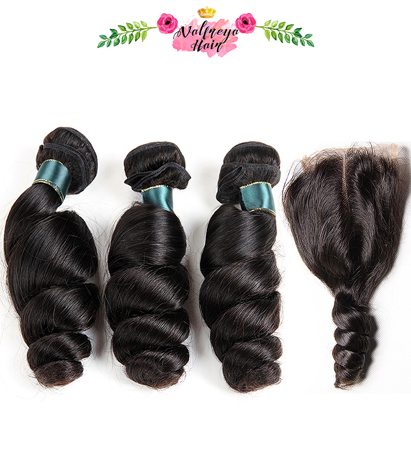 Regina Natural Black Middle Parting Loose Wave Weave Bundles with Closure - Valfreya Hair