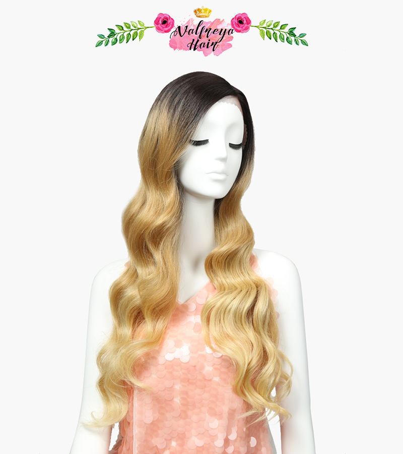 Chic Long Baby Blonde Ombré Loose Wave Synthetic Hair Wig