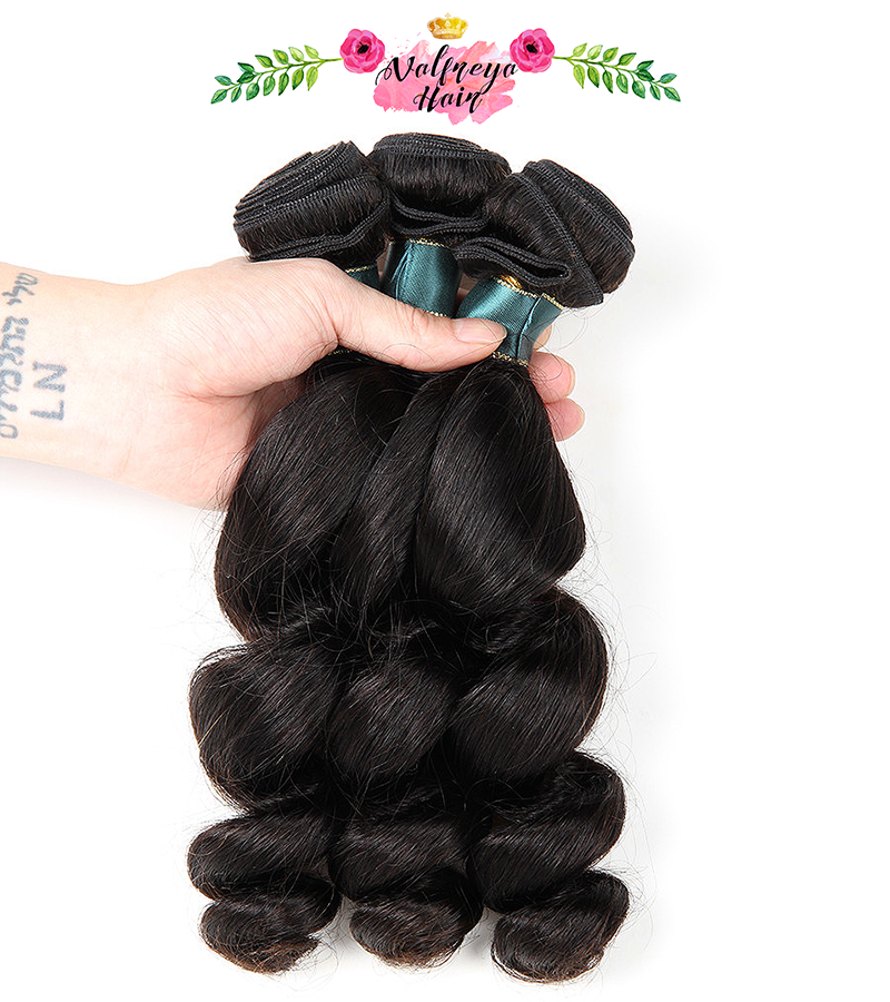 Regina Natural Black Free Parting Loose Wave Weave Bundles with Closure - Valfreya Hair