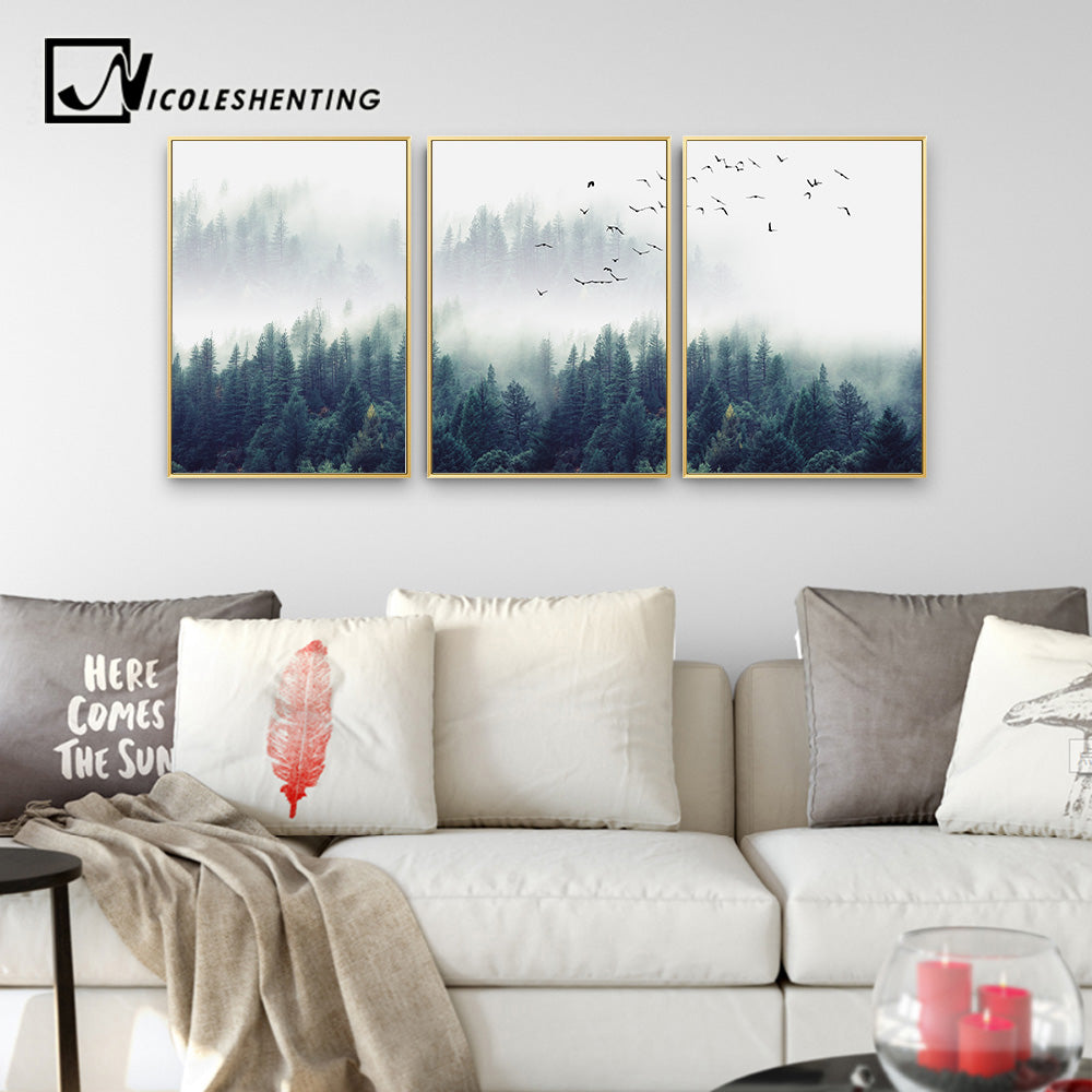 Nordic Decoration Forest Lanscape Wall Art Canvas Poster and