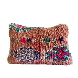 Moroccan vintage boujaad lumbar pillow, casa boho home decor, accents, colorful, bright, multicolored, pink, peach, coral, teal, blue, shag, bedroom, nursery, living room, bed, sofa, couch, chair,