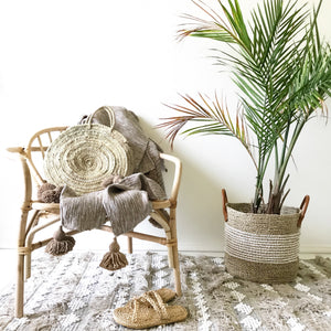 casa boho handmade woven fringe tassel textured bohemian neutral area rug mat home decor idea ideas tan beige taupe ivory cream plant chair