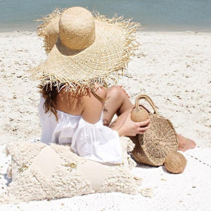 Boho beach sun hat oversized floppy straw hat with fringed edges beach lake sand pillow coconut boho bag sun tanning summer days sunshine sun hat wide brimmed hat