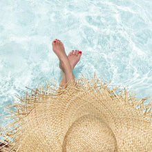 oversized floppy straw hat pool sunny day sun hat bohemian boho hat with fringed edges water relaxation