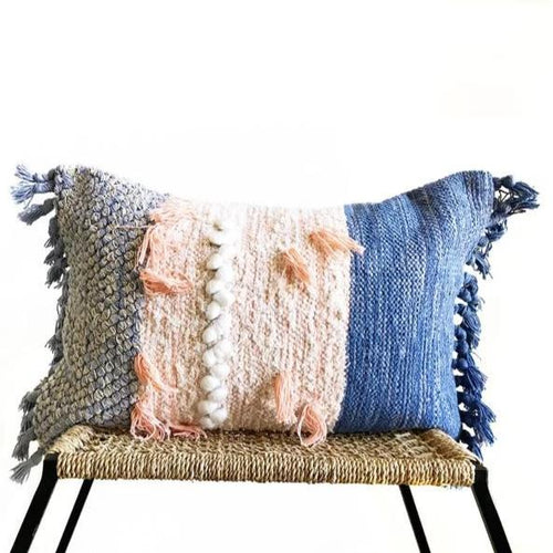 Fringe Pillow | Blue