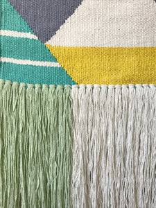 close view woven fringe aqua yellow geometric boho tribal wall hanging