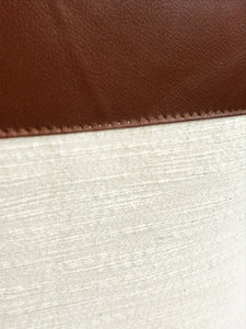 Faux Leather + Linen Pillow