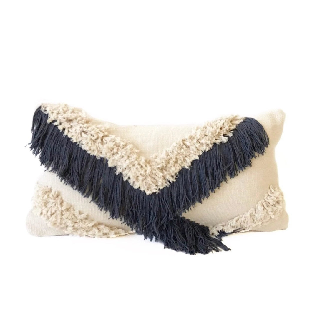 Shag Pillow - Midnight Blue