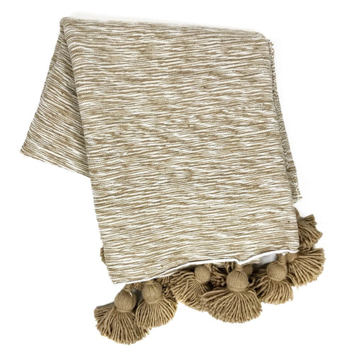 Pom Pom Throw Blanket - Light Brown