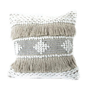 casa boho neutral cotton textured sea pillow cover with fringe beige Boho bohemian neutral decor cotton throw pillow tan beige white cream taupe
