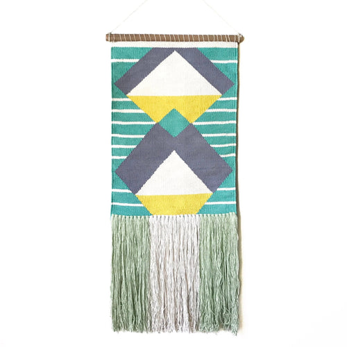 woven fringe aqua yellow geometric boho tribal wall hanging