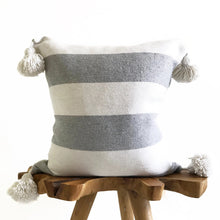 Pom Pom Pillow - White + Gray