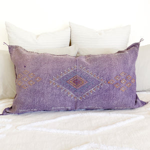 casa boho moroccan cactus silk pillow cover lumbar bohemian aztec tribal oversized cushion large tassels purple lavender girls bedroom room living sofa couch sabra lilac home decor decorative throw pillow