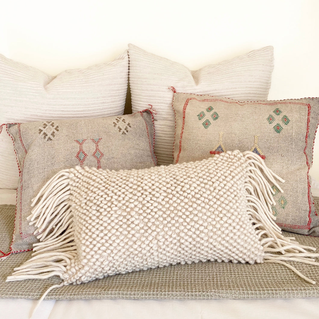 casa boho neutral cotton textured lumbar pillow cover with fringe beige Boho bohemian neutral decor cotton throw pillow beige white cream taupe decor ideas room ideas boho neutral