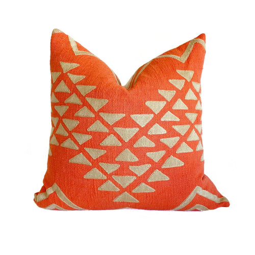 casa boho throw pillow decor home idea ideas room bedroom sofa couch coral orange tan taupe textured bohemian southwest desert inspired inspiration front