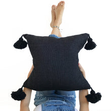 Pom Pom Pillow - Black