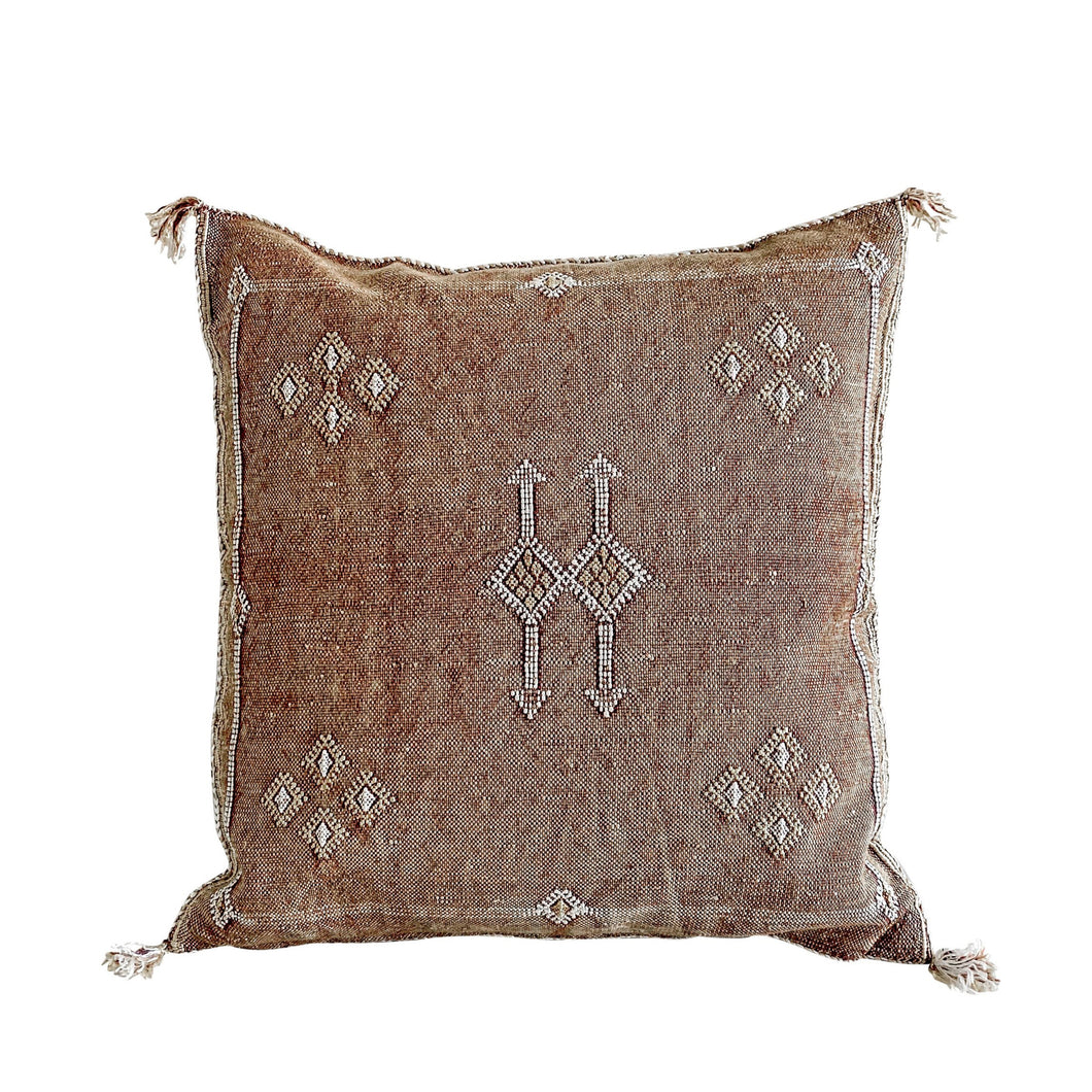 Casa Boho Cactus Silk Pillow brown sand earthy bohemian moroccan tribal southwest aztec desert style home decor cushion cover
