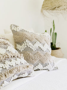 casa boho coastal bohemian beach house bungalow style textured throw pillow cover woven fringe neutral tones white ivory beige sand tan cactus moroccan scandinavian home decor shabby chic