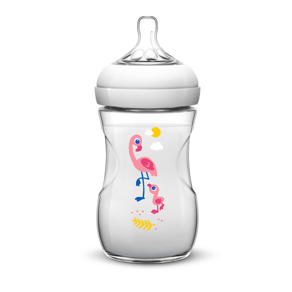 Biberón Nat Philips Avent Flamingo SCF627/21 260ml/9Oz 1m+